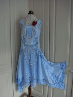 1920's Absolutely Gorgeous Sky Blue Pretty Gatsby Vintage Cotton Battenburg Lace Drop Waist Dress