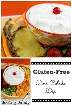 This recipe for gluten free pina colada dip is so yummy and oh so dandy. Perfect for serving any time of the year and a healthier dessert option to pair with fresh fruit!