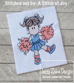 Cheerleader 2 Sketch Embroidery Design: Jazzy Zebra Designs