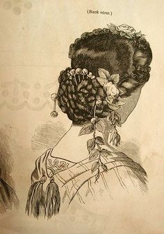 Coiffure mariage : Nina Headdress, from Godey's Ladies Book. (and a bonus burnous)… Civil War Hairstyles, Historical Hairstyles, Victorian Hairstyles, Vintage Hairstyles, Prom Hairstyles, Historical Costume, Historical Clothing, Victorian Fashion, Vintage Fashion