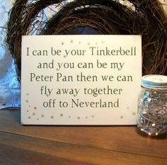 Wedding Tinkerbell and Peter Pan Painted Wood by CountryWorkshop