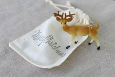 Merry Christmas Stamped Cotton Bag with Reindeer