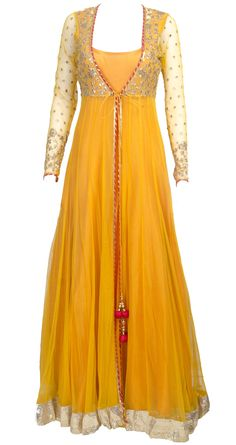 This sheer jacket long anarkali is featuring in a mango yellow floor length raw silk. It comes along with net sheer jacket with gota work detailing. Source by clothing Indian Attire, Indian Wear, Indian Outfits, African Attire, African Dress, Long Anarkali, Anarkali Dress, Lehenga, White Anarkali