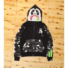 55ded79bfdd8 Bape Glow-in-the-Dark Camo Panda Face Full-Zip Hoodie