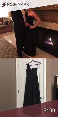 Black chiffon dress One shoulder polyester dress by Bill Levkoff. Worn once. Great for prom, ring dance, wedding guest, etc. Bill Levkoff Dresses One Shoulder