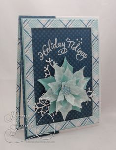 "christmas card poinsettia , blue iceblue,  Echo park ""Hello Winter"" paper pad - julekort - Karte Weihnachten  - One Krafty Kat: Impression Obsession #EchoParkPaper"