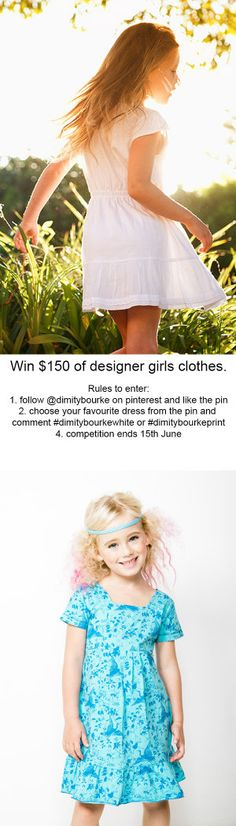 COMPETITION- WIN $150 of clothing from Dimity Bourke. 1. Follow Dimity Bourke on pinterest https://www.pinterest.com/dimitybourke/ AND like the Competition pin. 2. Choose the style you prefer from the two images & comment either #dimitybourkewhite or #dimitybourkeprint - For further details visit http://juniorstyle.net/shopping-guide/competitions/dimity-bourke-pinterest-competition-may-2015  This event is in no way administered, sponsored, or endorsed by,or associated with, Pinterest.