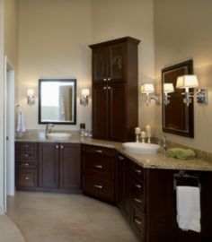 1000 images about master bath on pinterest master for Bathroom l shaped vanities