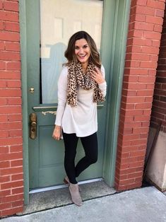 7144a72ca52b9 ... outfit for this fall and winter for work! I love a little leopard print  paired with cream and black! These are my favorite black work pants and  this ...