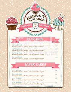 Bake Shop or Cafe Stickers Menu With Cupcake and Ribbon. There is a polka dot background with lots of grain. Several layers for easy editing. Bakery Business Cards, Cake Business, Logo Doce, Cadre Design, Pastry Logo, Cafe Menu Design, Cake Logo Design, Bakery Menu, Polka Dot Background