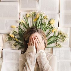 If I close my eyes and count to ten, when I open them it will be spring. Channelling the goddess of the spring (Persephone, Ostara,… Book Photography, Creative Photography, Portrait Photography, Foto Instagram, Book Aesthetic, Creative Portraits, Photo Poses, Inspiration, Yellow Tulips