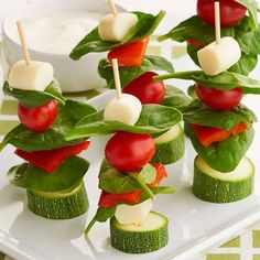 Get kids to eat their veggies in a fun, exiting way. Try serving a traditional dinner salad on skewers. This Salad on a Stick recipe is easy to make, just thread Market Pantry mozzarella cheese sticks (Diy Cheese Sticks) Tapas, Fruit Sticks, Food Carving, Good Food, Yummy Food, Skinny Recipes, Healthy Recipes, Dinner Salads, Fabulous Foods