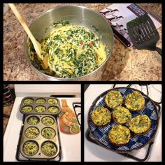 Homemade healthy Quiche Cups!    1 - package of frozen chopped spinach, thawed.   1- package (8 ounce) low fat shredded cheese of your choice. 1- small container of Egg Beater's, any flavor Cook the spinach so all water is drained and it's warm. Mix the spinach, egg beaters and cheese in a bowl, and add salt and pepper.   Spoon it into muffin cups for portion control. Cook for 30-40 minutes on 350, and waaa-la! Each cup is about 65 - 80 calories.