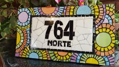 #número #home #deco  #mosaiquismo #colores #mandalas Address Signs, Letters And Numbers, Ideas Para, Stepping Stones, Diy And Crafts, Craft Ideas, Frame, Home Decor, Names