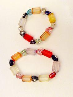 childrens bracelets two bracelets hearts by JeriAielloartstore