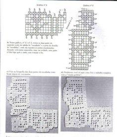 crochet - bicos/barrados com cantos - corner