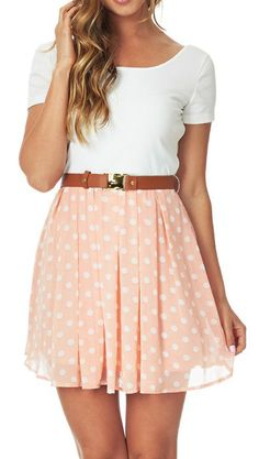 Peach & White Polka Dot Scoop Neck Dress & Belt.......just needs to be way longer for me!