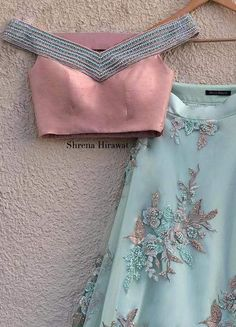 Sage Green Embroidered Lehenga with Off Shoulder Peach Pearl Blouse-Shrena Hirawat-Fabilicious Fashion Kids Blouse Designs, Crop Top Designs, Blouse Neck Designs, Choli Blouse Design, Lehenga Blouse, Lehenga Choli, Stylish Blouse Design, Hand Embroidery Designs, Embroidery Stitches