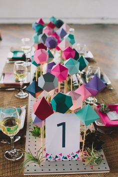 geometric table runner Centrepieces, Centerpiece Wedding, Paper Centerpieces, Modern Wedding Centerpieces, Homemade Centerpieces, Lollipop Centerpiece, Wedding Table, Diy Wedding, Colorful Centerpieces