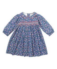 This Navy Blue Floral Smocked Bishop Dress - Infant & Toddler is perfect! #zulilyfinds