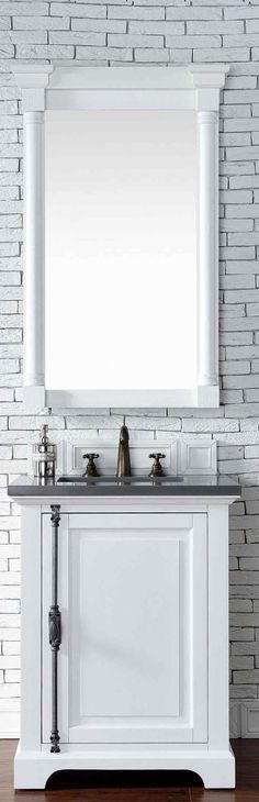 "James Martin Furniture - Providence 26"" Cottage White Single Vanity with 3 CM Shadow Gray Quartz Top - 238-105-V26-CWH-3SHG"