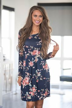 e1b39d71e2 All of Our Days Floral Dress Navy - The Pink Lily Floral Fashion, Women's  Fashion