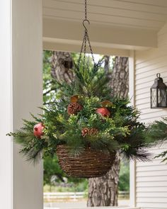 LED Mixed Pine Battery Pack Hanging Basket with Warm White Lights - 18 in. x 24 in. Diy Christmas Lights, Christmas Swags, Christmas Diy, Outdoor Lighted Christmas Decorations, Winter Porch Decorations, Outdoor Christmas Planters, Rustic Winter Decor, Beautiful Christmas Decorations, Christmas Ornament