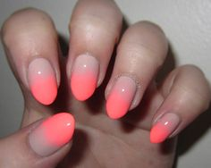 nude & neon ombre nails