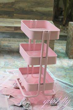 Ikea Raskog spray painted pink - Would make a fab planner/midori trolley Study Room Decor, Cute Room Decor, Room Ideas Bedroom, Bedroom Decor, Spa Room Decor, Ikea Raskog, Raskog Cart, Interior Design Books, Lash Room