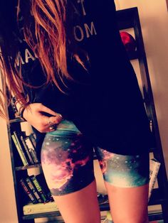 High+waist+galaxy+biker+shorts!+Fun+for+yoga,+outdoor+activities,+or+just+for+everyday+fashion.    Glows+under+blacklight+    Handmade+by+me