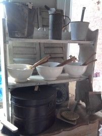 several kitchenmaterials in a nice old cupboard