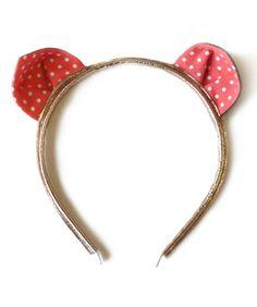 Woodstock London Kitty Headband, Coral Polkadot
