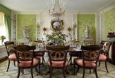 Green hand painted walls, chandelier, needlepoint rug, mirrored millwork - Scott Snyder