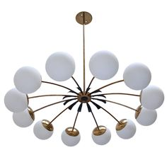Twelve-Globe Italian Chandelier | From a unique collection of antique and modern chandeliers and pendants at https://www.1stdibs.com/furniture/lighting/chandeliers-pendant-lights/