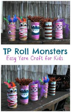 Easy, fun open-ended yarn and googly eye craft for p… Toilet Paper Roll Monsters! Easy, fun open-ended yarn and googly eye craft for preschool aged kids and up. Perfect for a monster theme (or Halloween). Easy Yarn Crafts, Yarn Crafts For Kids, Halloween Crafts For Toddlers, Halloween Activities, Toddler Crafts, Preschool Crafts, Fall Crafts, Diy For Kids, Activities For Kids