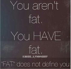 You aren't fat, you have fat. Fat does not define you. Weight Loss Motivation ♡