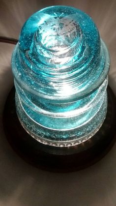 Snowy Blue HEMINGRAY 45 with Acid Etched Butterfly Insulator Night Light ~ Upcycle Desk Lamp, Antique Accent Light