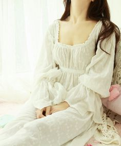 Inspired by Elizabeth Swann from the movie Pirates of the Caribbean, it is the nightgown everyone would deram of. Created from our delicate embroidered cotton fabric. Available in ivory as shown. By PrinstyCollection.