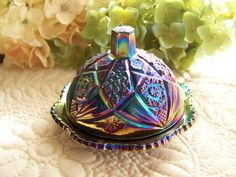 Vintage Miniature Child's Cobalt Blue Carnival Glass Octagon or Imperial Lace Covered Butter Dish. $20.00, via Etsy.