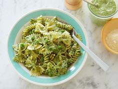 Pasta, Pesto, and Peas recipe from Ina Garten via Food Network.used whole wheat pasta and added a pound of sautéed sweet Italian sausage. Pea Recipes, Cooking Recipes, Healthy Recipes, Dinner Recipes, Crowd Recipes, Healthy Pesto, Dairy Recipes, Cooking Food, Easy Cooking