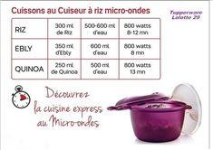 Tableau pour le cuiseur riz micro ondes