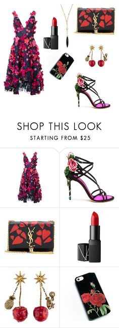 """""""Untitled #13"""" by eminad ❤ liked on Polyvore featuring Notte by Marchesa, Dolce&Gabbana, Yves Saint Laurent, NARS Cosmetics, Gucci and Bloomingdale's"""