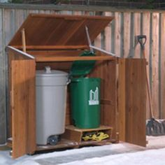 Cedar Outdoor Storage Sheds For Trash Can and Recycling Bin Storage Outdoor Storage Sheds, Shed Storage, Storage Bins, Storage Solutions, Garbage Can Shed, Garbage Can Storage, Outdoor Projects, Home Projects, Recycling Bin Storage