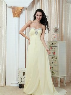 Strapless Sweetheart With Beadings A-line Long Chiffon Prom Dress PD2012 www.simpledresses.co.uk £102.0000