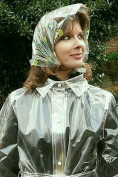 Lorraine Ward in a Rain Hat and a clear mack Clear Raincoat, Vinyl Raincoat, Plastic Raincoat, Pvc Raincoat, Plastic Pants, Yellow Raincoat, Lorraine, Imper Pvc, Rain Bonnet