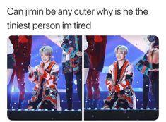 Nope he can't he's the cutest person on the planet earth Bts Boys, Bts Bangtan Boy, Bts Jimin, Bts Memes, Park Ji Min, Jikook, Jung Kook, Seokjin, Namjoon