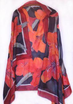 Hand painted silk scarf Crimson Flowers Mother's day by klaradar,