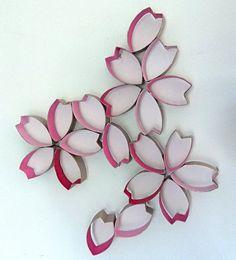 Toilet roll art - Cherry blossom 2