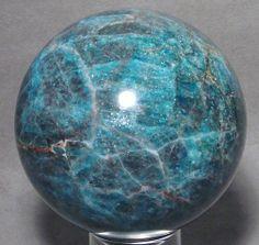 neon apatite   RARE Neon Blue Apatite 3 5 inch Crystal Sphere   eBay
