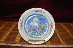 "4 Asian Porcelain Multi-Colored Floral Bread Butter Dessert Plates 7 5/8"" #Unknown"